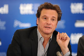 Actor Colin Firth speaks at 'The King's Speech' press conference during the 2010 Toronto International Film Festival at the Hyatt Regency on September 11, 2010 in Toronto, Canada. (Photo by Alberto E. Rodriguez/Getty Images)