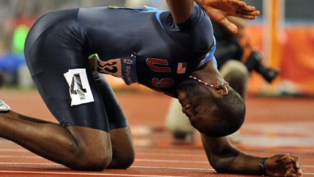 LaShawn Merritt wins 400-meter in 2008 Beijing Olympics.