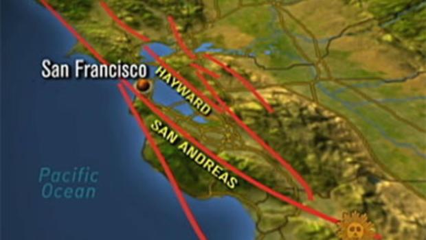 Three earthquake fault lines run through or near the San Francisco Bay Area.
