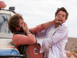 "In this film publicity image released by Warner Bros., Zach Galifianakis, left, and Robert Downey Jr. are shown in a scene from ""Due Date."" (AP Photo/Warner Bros., Melinda Sue Gordon)"