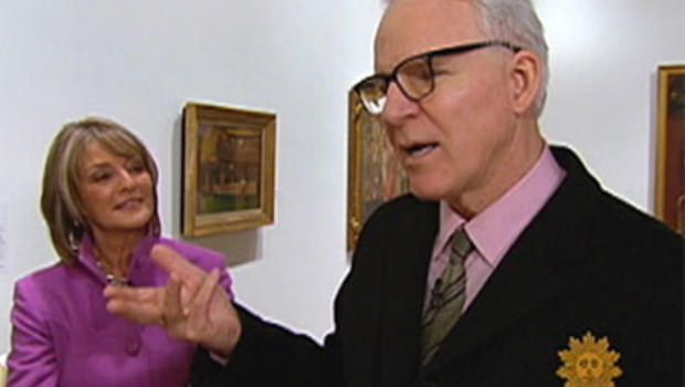 Steve Martin with Rita Braver at the Whitney Museum of American Art in New York.