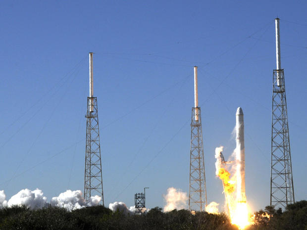 The SpaceX Falcon 9 Rocket Blasts Off