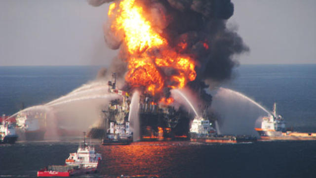 Fire flaring on BP's Deepwater Horizon oil rig in Gulf of Mexico. Explosion ripped through it in Oct. 2010.
