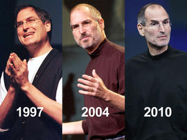 Steve Jobs' weight and appearance changed drastically from 1997 to 2010.