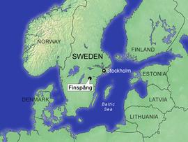 locator map for the town of FinspÃ??Ã??Ã??Ã?Â¥ng, Sweden