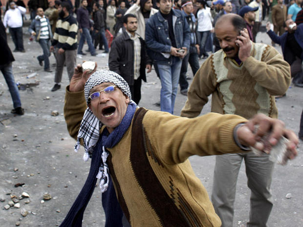 Rock thrower in Cairo protests