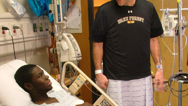 Wake Forest baseball coach Tom Walter and player Kevin Jordan