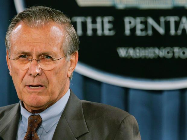 Donald Rumsfeld speaks during a news briefing