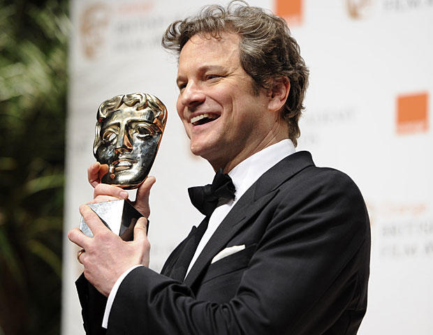 Colin Firth poses with the award for Best Actor backstage during the BAFTA Film Awards 2011, at The Royal Opera House in London, Sunday, Feb. 13, 2011. (AP Photo/Jonathan Short)