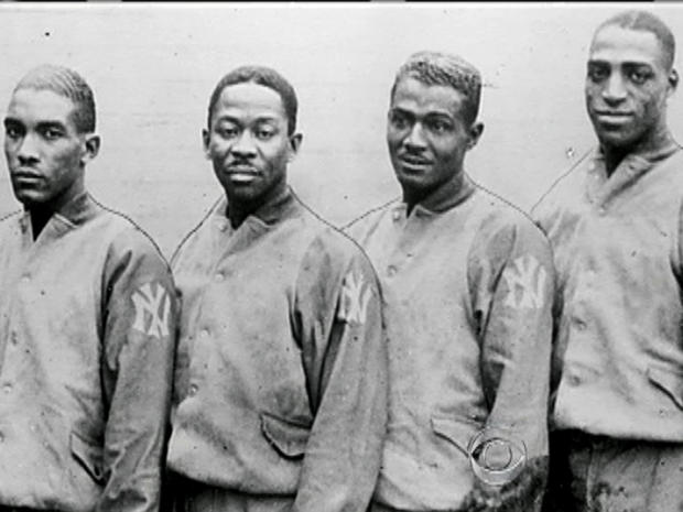 """Members of """"The Harlem Rens"""" are seen in the documentary film, """"On the Shoulders of Giants."""""""