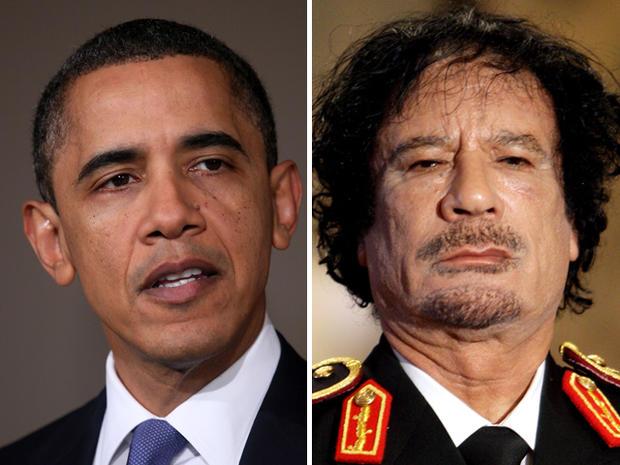 President Barack Obama and Muammar Qaddafi