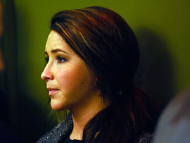 Bristol Palin reacts to her mother's speech dat the Reagan Ranch Center on Feb. 4, 2011, in Santa Barbara, Calif.