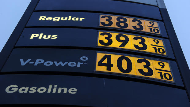 A sign shows gasoline prices at a gas station in Carson, California March 2, 2011.