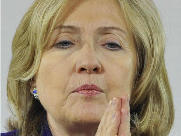 Hillary Rodham Clinton at a Libya conference in London