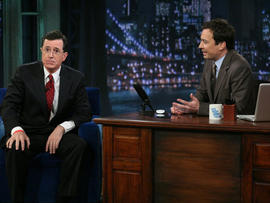 """Jimmy Fallon and Stephen Colbert on """"Late Night with Jimmy Fallon,"""" March 28, 2011."""