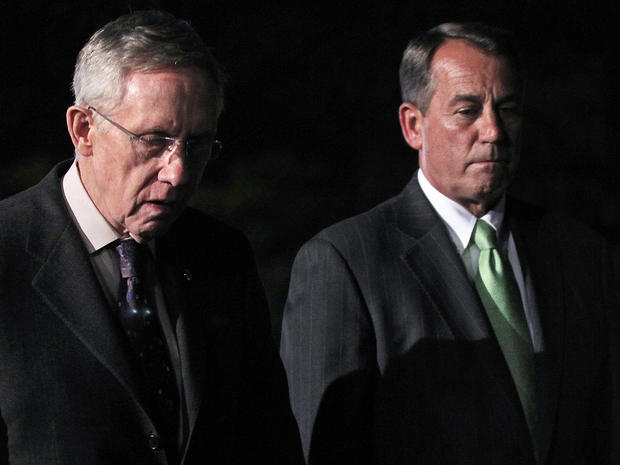 John Boehner, R-Ohio, and Harry Reid, D-Nev., leave the White House