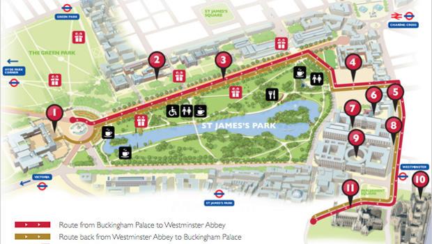 Map follow the royal wedding procession cbs news junglespirit Choice Image