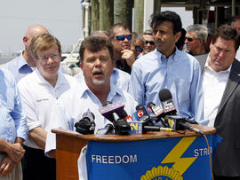 Oil spill anniversary news conference