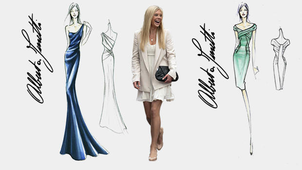 Prince Harry's girlfriend Chelsy Davy and sketches by Alberta Ferretti