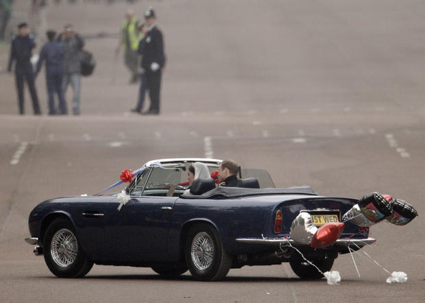 William and Kate in an Aston Martin