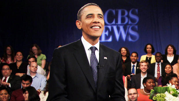President Barack Obama smiles during a break at a CBS News Town Hall Meeting on the economy, Wednesday, May 11, 2011, at the Newseum in Washington. (AP Photo/Carolyn Kaster)