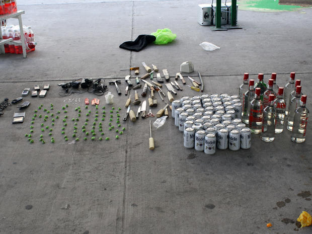 Marijuana, heroin, beer, vodka, and cell phones were among the items seized at a minimum-security prison in northern Mexico.