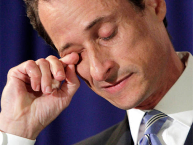 "U.S. Congressman Anthony Weiner, D-NY, wipes his eye during a news conference in New York, Monday, June 6, 2011. After days of denials, a choked-up New York Democratic Rep. Anthony Weiner confessed Monday that he tweeted a bulging-underpants photo of himself to a young woman and admitted to ""inappropriate"" exchanges with six women before and after getting married."