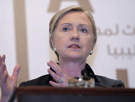 Secretary of State Hillary Rodham Clinton speaks during a news conference at the Emirates Palace Hotel in Abu Dhabi, United Arab Emirates, June 9, 2011, following the Third Contact Group Meeting on Libya.