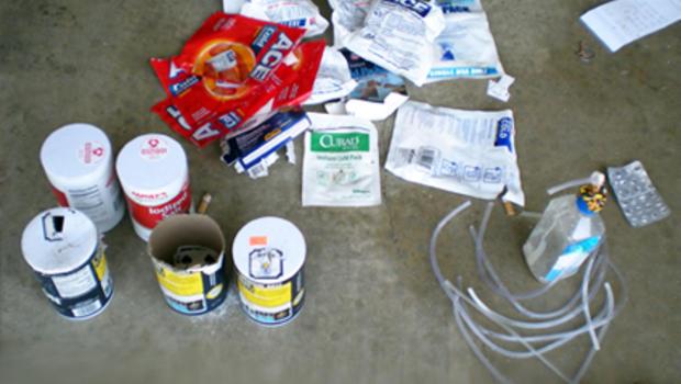 Methamphetamine lab drug bust
