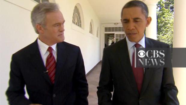 Scott Pelley and Barack Obama