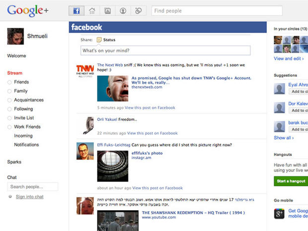 Get Facebook and Twitter feeds in Google+