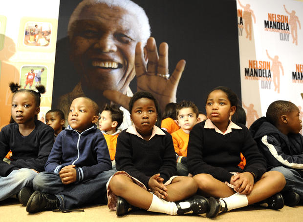 South African schoolchildren mark Nelson Mandela's 93rd birthday