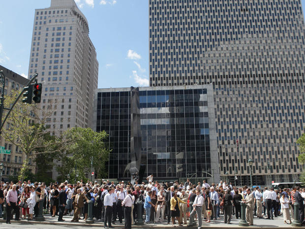 People stand in Foley Square after being evacuated from federal and state buildings surrounding it in New York on  Aug. 23, 2011, following an earthquake.