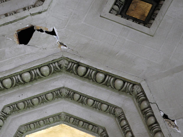 Pieces of the ceiling at Union Station are missing and cracks are seen after an earthquake was felt in Washington, Aug. 23, 2011.