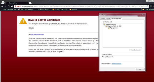 This screenshot shows the warning the user got when attempting to log into Gmail.