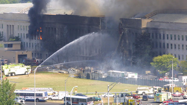 Smoke comes out from the west wing of the Pentagon building September 11, 2001 in Arlington, Va.