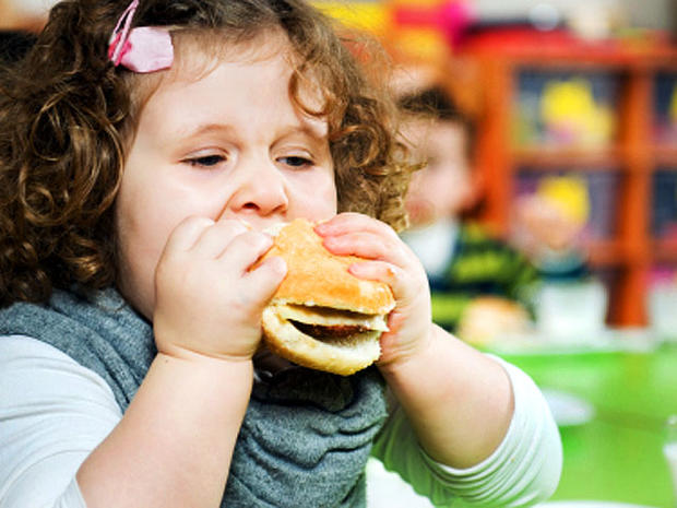 hungry, girl, fat, obese, overweight, kid, burger, bite, stock, 4x3
