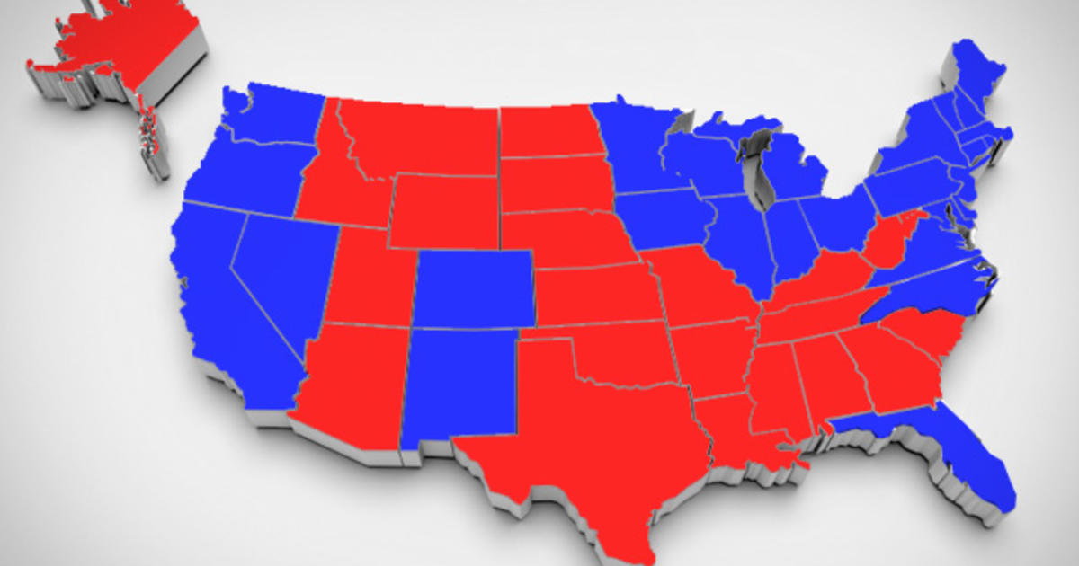 Does The RedStateBlueState Model Of US Electoral Politics USABlue - Us map showing red and blue states