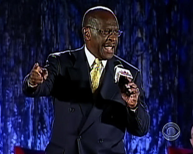 Herman Cain tied for first