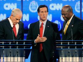 Ron Paul, Rick Santorum and Herman Cain