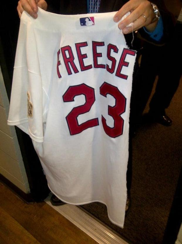 David Freese's shredded jersey