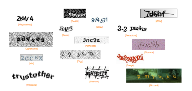 Examples of popular Captchas (Completely Automated Public Turing test to tell Computers and Humans Apart)