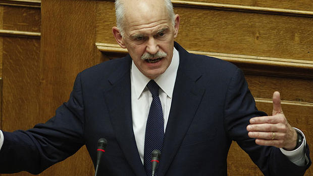 Greek Prime Minister George Papandreou speaks during a parliament session in Athens, Nov. 3, 2011.