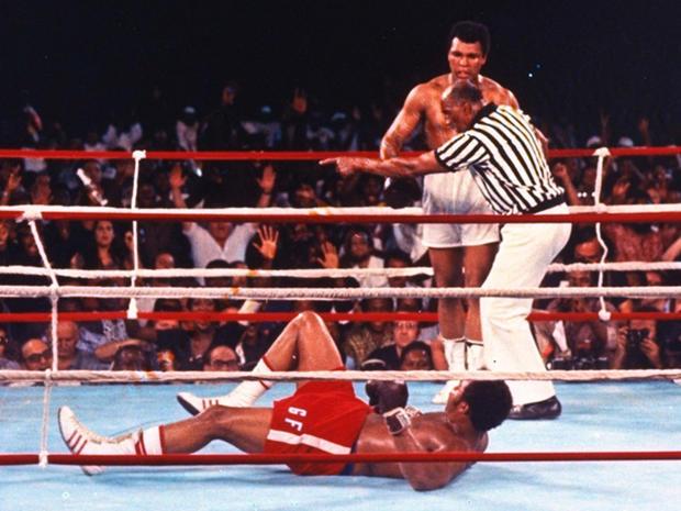 Muhammad Ali knocks down George Foreman