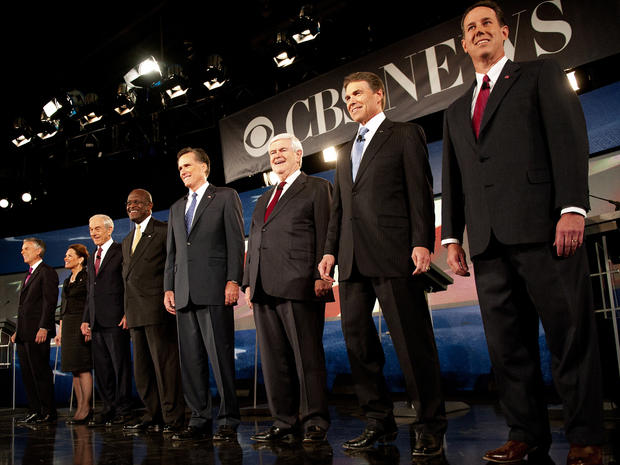 Republician presidential hopefuls, from left to right, Jon Huntsman, Michele Bachmann, Ron Paul, Herman Cain, Mitt Romney, Newt Gingrich, Rick Perry and Rick Santorum participate in the CBS News/National Journal Debate at Wofford College Nov. 12, 2011, in Spartanburg, S.C.
