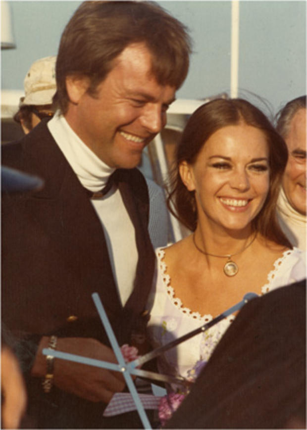 Robert Wagner and Natalie Wood are shown at their second wedding on their yacht, Splendour.