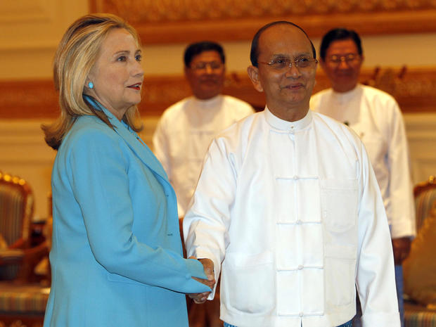 Hillary Rodham Clinton is greeted by Myanmar's President Thein Sein