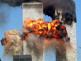 A fiery blast rocks the south tower of the World Trade Center as hijacked United Airlines Flight 175 from Boston crashes into the building Sept. 11, 2001, in New York City.