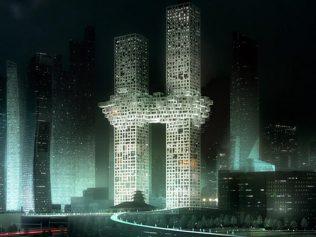 """""""The Cloud,"""" a design of two Seoul skyscrapers, is seen in this artist's rendering provided Dec. 12, 2011, by Dutch architectural company MVRDV.  The Dutch architectural company has apologized for the skyscrapers' design that to some resembles the World Trade Center exploding during the 9/11 terror attacks."""