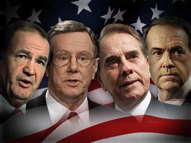 Mike Huckabee, Bob Dole, Steve Forbes and Pat Buchanan